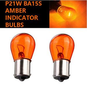 2x-P21W-BA15s-382-12v-Amber-Orange-Indicator-Light-Car-Bulbs-Opposite-Pins