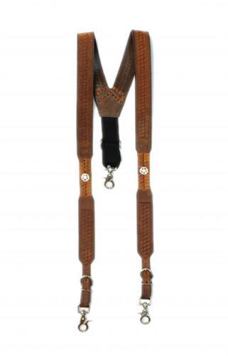 Nocona Western Mens Suspenders Galluse Embossed Leather Star Tan N8512644