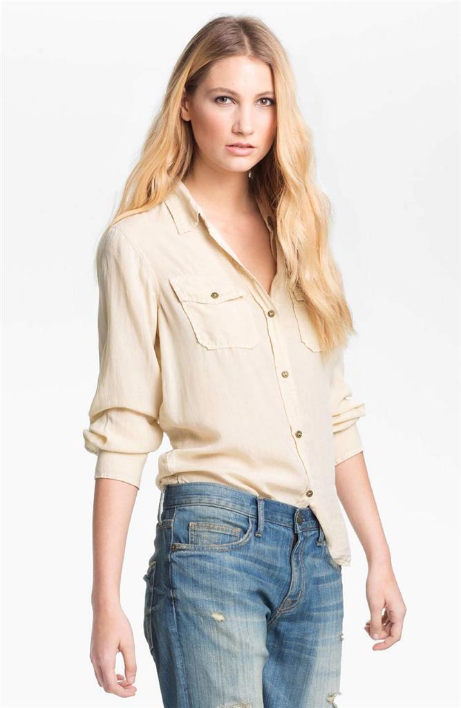 Current Elliott The Perfect Shirt Cottonseed Beige SHRUNKEN Button Top Designer