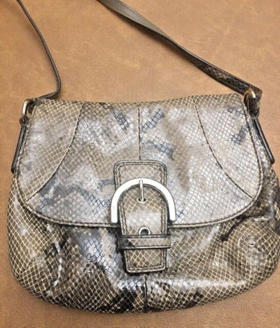 75f528df7601 Coach Gray Animal Print Exotic Snake Skin Leather Purse Bag Evening F 45648  NWT