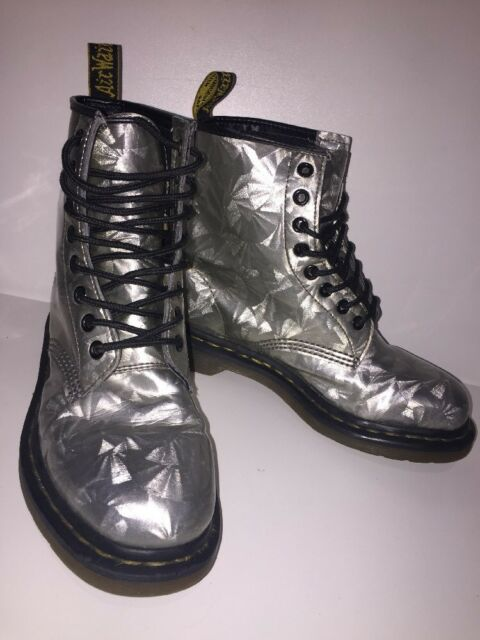 new arrive new photos run shoes Womens Silver Jewel Hologram Dr Martens Ankle Boots Uk5 EU38
