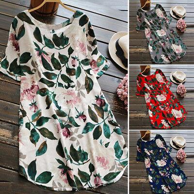 UK 8-24 ZANZEA Women Off Shoulder Lace Floral Casual Loose Long Tops Mini Dress