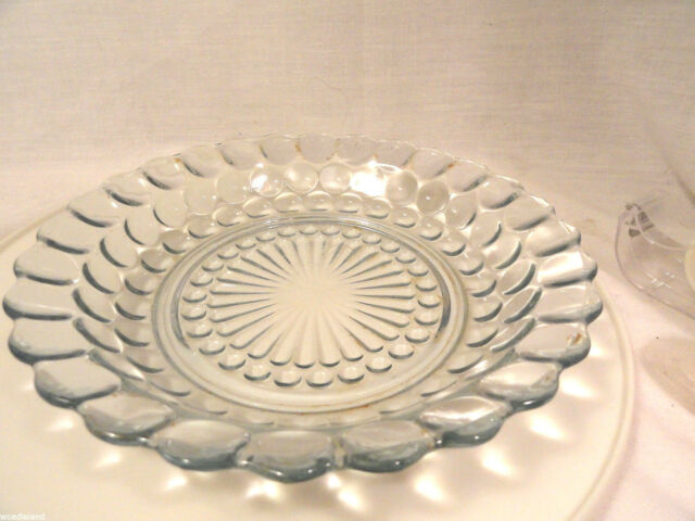 Blue Bubble Depression Glass 7 3/4