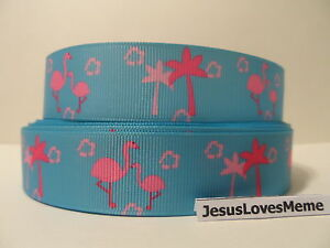 """Grosgrain Ribbon, Momma & Baby Flamingo Birds with Palm Trees on Blue, 1"""" Wide"""