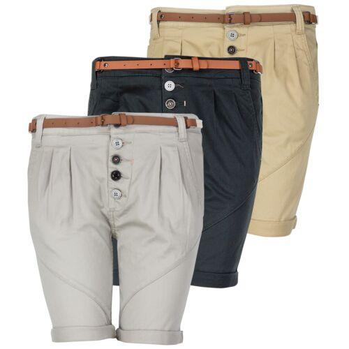Sublevel Damen Bermuda Kurze Hose Abnehmbarer Gürtel Knopfleiste Shorts