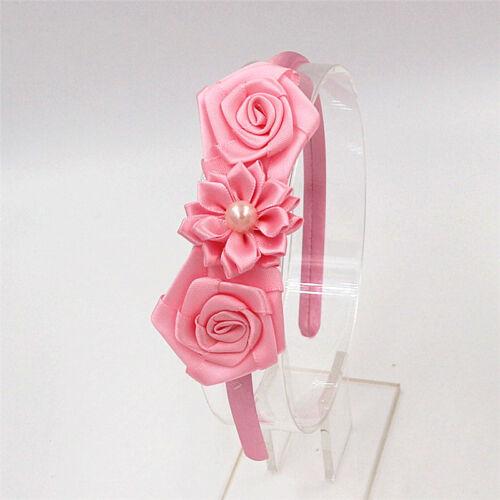 Rose Flower Pearl Daisy Satin Alice Band Headband Girl Pearl Motif Hair