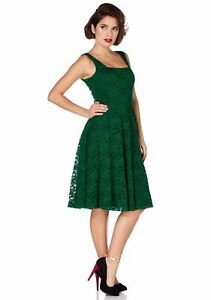 4039690875e9 Voodoo Vixen Vintage Inspired 60's Victorian Green Rose Lace Flare ...