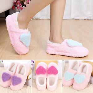 Winter-Women-Girls-Fleece-Warm-Heart-Soft-Antiskid-Indoor-Home-Slippers-Shoes