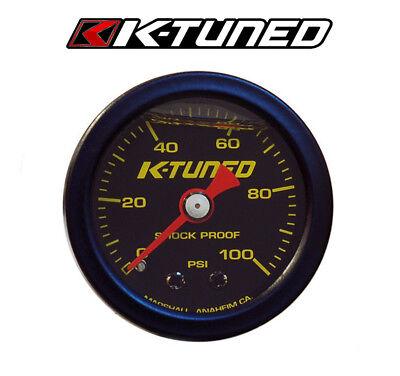 BLACK K-Tuned Fuel Pressure Gauge Marshall 0-100 psi UNIVERSAL