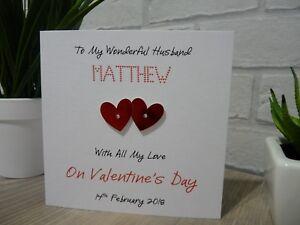 Handmade-Personalised-Valentine-039-s-Valentines-Day-Card-Husband-Wife-Anniversary