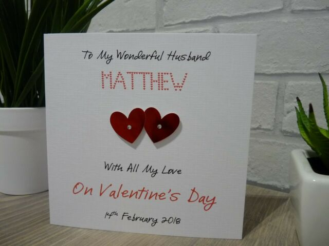 Handmade Personalised Valentine's Valentines Day Card Husband Wife Anniversary