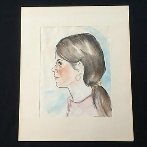 Vnt 1970 S Color Sketch Caricature Cartoon Drawing Profile Young