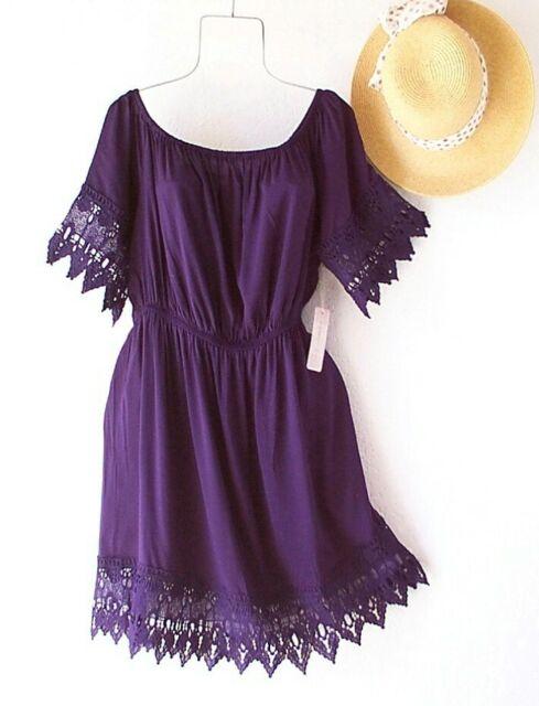 New~Navy Blue Crochet Lace Peasant Vacation Shift Boho Beach Plus Size Dress~3X