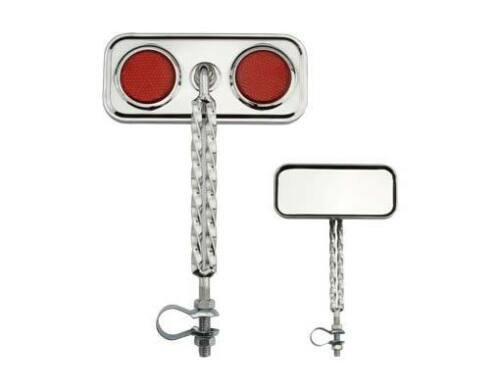 Double Twisted Mirror Chrome RED Reflectors lowrider   cruiser  mirror 193478