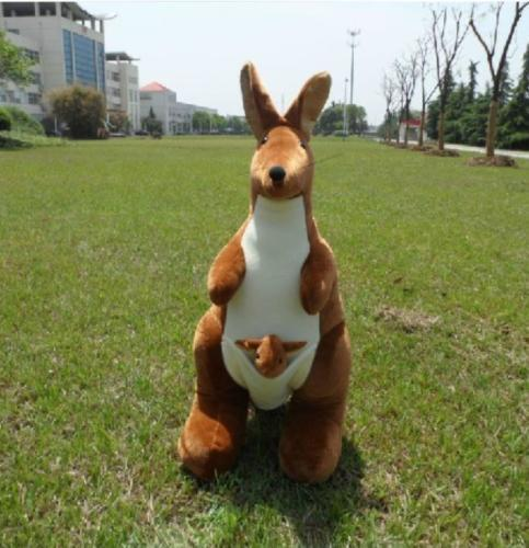 47'' 120cm Big Plush Kangaroo Doll Stuffed Kangaroo Mother Baby Doll Toys Gifts