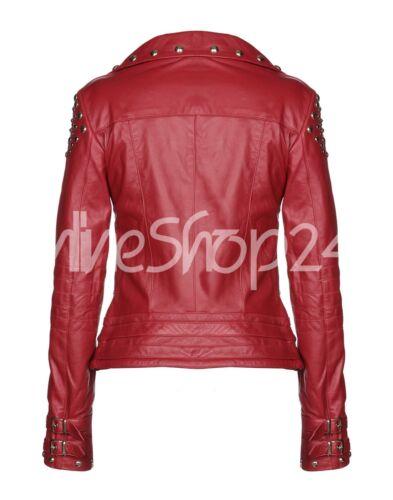 New Silver Leather 2019 Women Studded Brando Biker Jacket Designed Red Unique pZrIpq4U