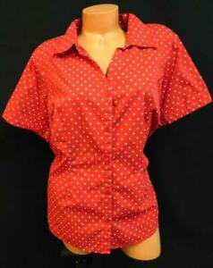 Basic-editions-red-polka-dot-short-sleeve-women-039-s-plus-size-button-down-top-2X