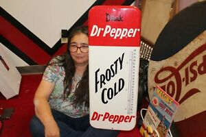 "Rare Large Vintage 1957 Dr Pepper Soda Pop 26"" Metal Thermometer Sign NICE"