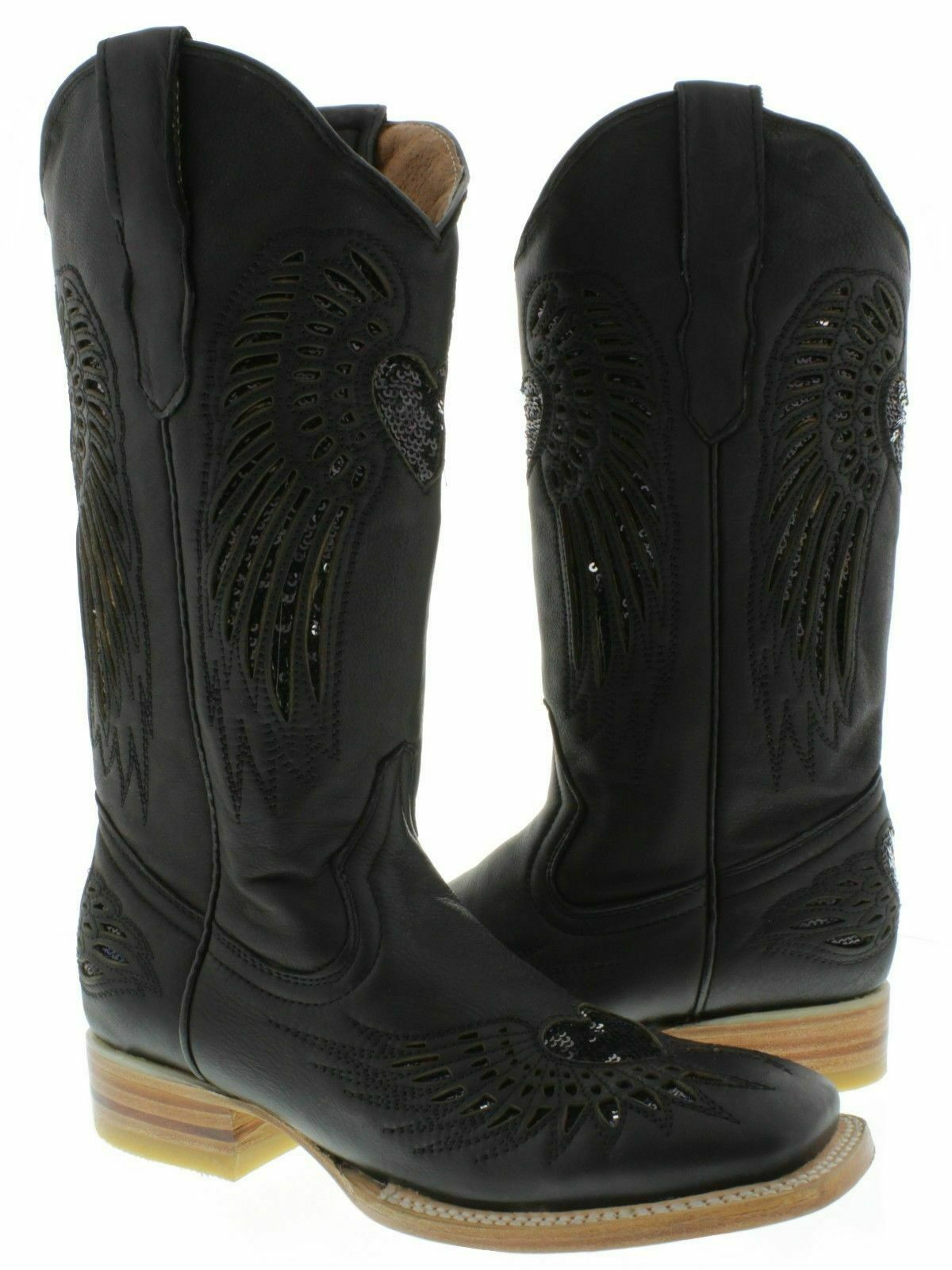 donna Cowboy stivali Heart Wing nero Leather Inlay Sequins  Square Toe Dimensione 6.5  vendita outlet