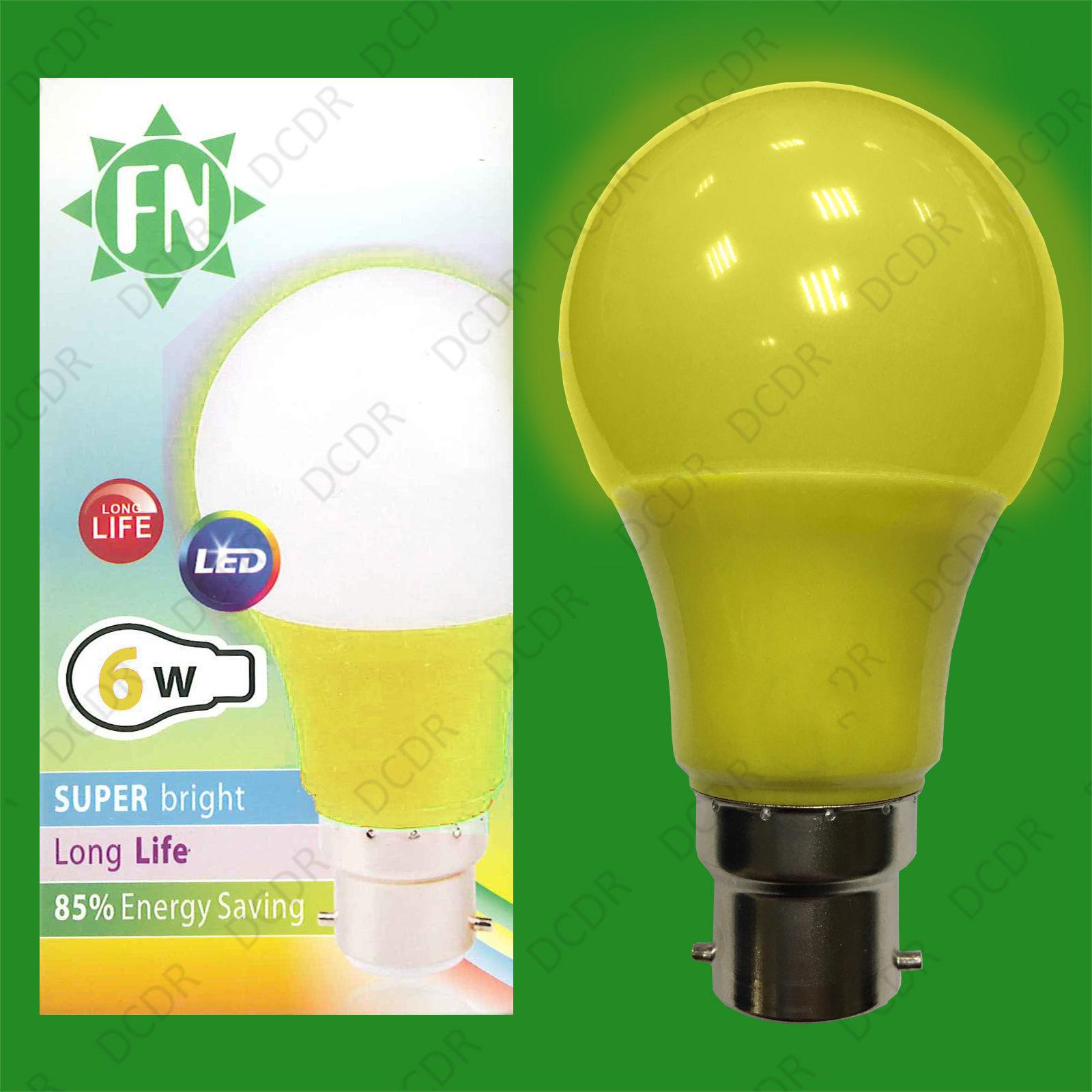 6x 6W LED Yellow Coloured GLS A60 Light Bulb Lamp BC B22, Low Energy 110 - 265V