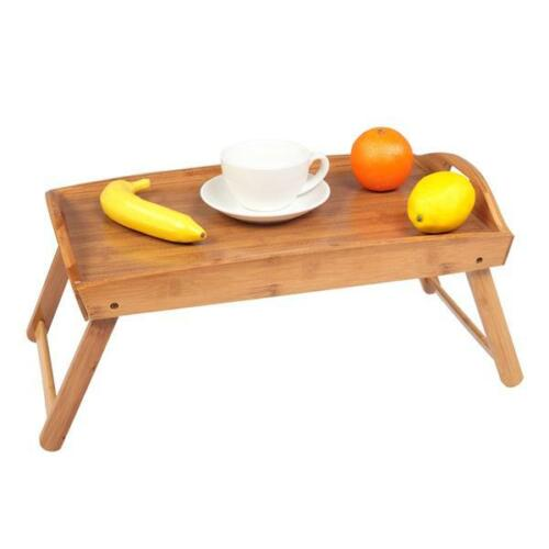 Bamboo Bed Tray Breakfast Laptop Desk Food Serving Folding Legs Hospital Table