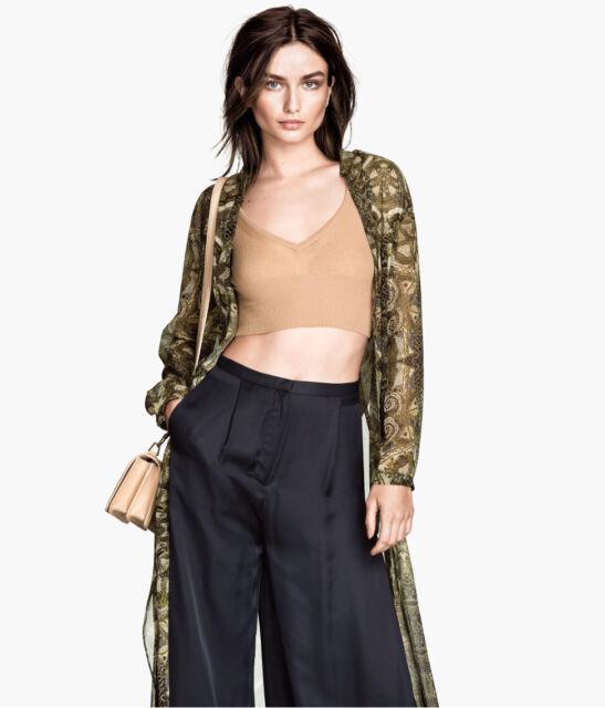 H&M Exclusive Conscious Collection Fine-Knit Beige Bustier Top UK 8 10 12 14