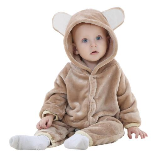 Baby Flannel Romper Hooded Jumpsuit Warm Winter Bodysuit Outfits Set Clothes