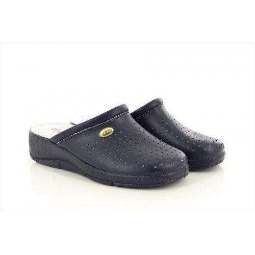 San Malo Womens Ladies Leather Nursing Kitchen Mule Clogs Sandals shoes Navy Bl