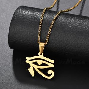 """Nuevo De Jay Z Ojo De Horus Micro Colgante de 5 mm de 24 /""""Figaro Cadena Collar k7153g"""