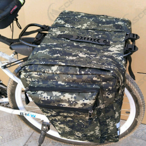 UK Waterproof Bike Bag Bicycle Double Panniers Cycling Rear Seat Trunk Rack Pack
