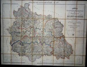 1845-GUILLAUME-Carte-du-Puy-de-Dome-Topographique-Geometrique-Carte-Routiere