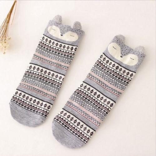 Cartoon Animal Short Socks With 3D Ears Women Cotton Ankle Socks Soft Sock