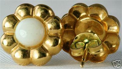 USED 14K gold OPAL FLOWER EARRINGS