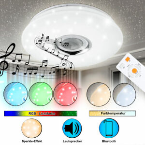 LED Design Decken Lampe Bluetooth Musik Lautsprecher RGB Sternen-Himmel Leuchte