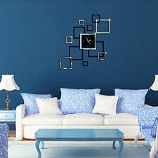 Acrylic Clock Design Mirror Effect Mural Wall Sticker Home Decor Craft Quaint