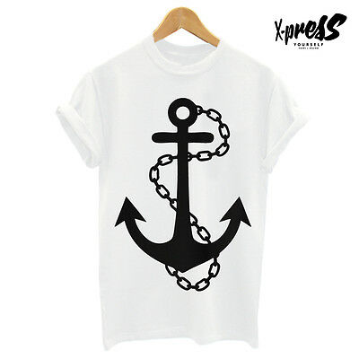 MENS ANCHOR PRINT T SHIRT PRINTED TSHIRT RELIGION TOP MAN WHITE DOPE GIRL SWAG