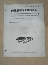 Landis 10 Ch Amp 12 Lch Hydraulic Grinding Machines Operators Handbook 1946