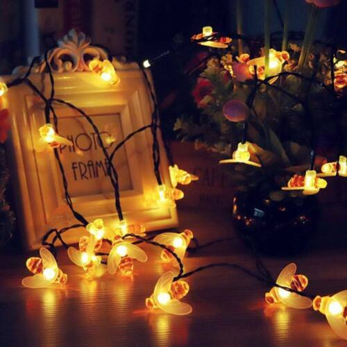 LED Bee String Fairy Lights Wedding Craft Party Garden Coloured Xmas Decoration