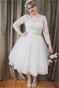 Image Is Loading Plus Size White Ivory Short Wedding Dress Long