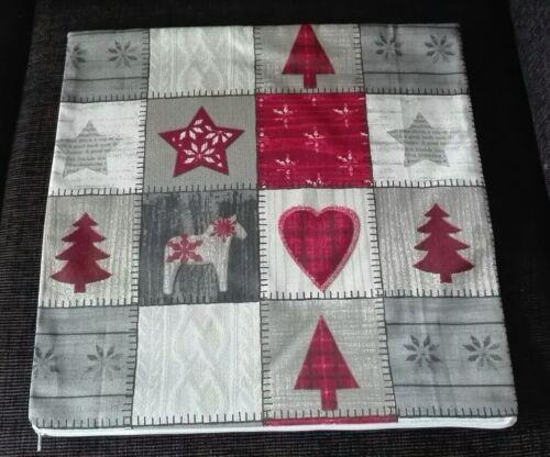Kissenbezug Kissenhülle 40x40 cm Karo Herz Weihnachten Dekokissen Handarbeit