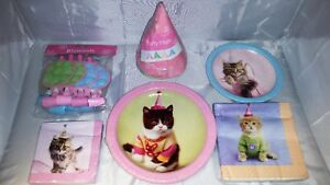 Cat-Pet-Party-in-a-box-for-8-Hats-plates-cups-and-much-more-NOS