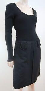 TARA-JARMON-Designer-Black-Long-Sleeve-A-Line-Skirt-Winter-Dress-EU40-UK12