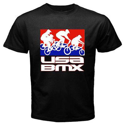 New USA BMX PRO BMX Fans Logo Sports Bicycle Men/'s White T-Shirt Size S to 3XL