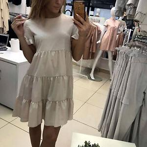 LA-Damenkleid-Minikleid-Tunika-Kleid-Stufenkleid-Longshirt-Strandkleid-XS-L