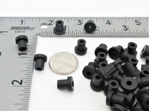 """1//8"""" Thick Flange 1//2"""" OD Push-In 1//4"""" X 3//16/"""" ID Small Rubber Bushings"""