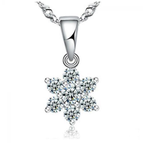 neue schöne crystal trendy halskette anhänger schneeflocke versilbert