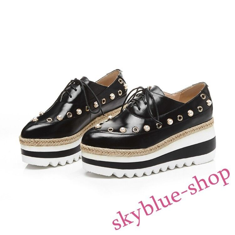 Ladies Lace Up Crepper Oxfords Platform Leather High Wedge Heels Pointy Toe shoes