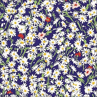 P&B Textiles Garden Party Daisies on Blue Cotton Fabric