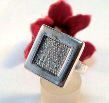 Großer Pierre Lang Ring mit Steinchen versilbert Fingerring / bj 339