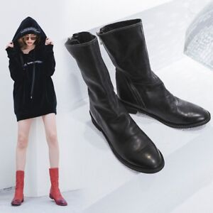 Womens-Vogue-Cow-Leather-Pointed-Toe-Zippers-Flat-Ankle-Boots-Shoes-Plus-Size